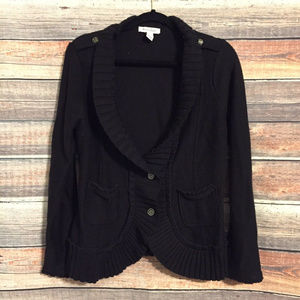 WHBM ribbed ruffle wool blend cardigan